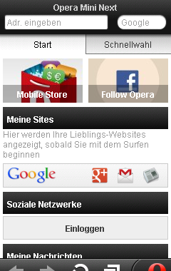 Opera mini next 7.0 Fullscreen (Ger/DE)