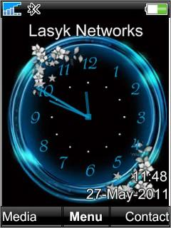 Free Download Blue Analog Clock for Sony Ericsson W550i - App