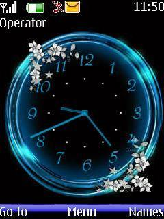 Free Download Blue Analog Clock for Nokia Asha 206 - App