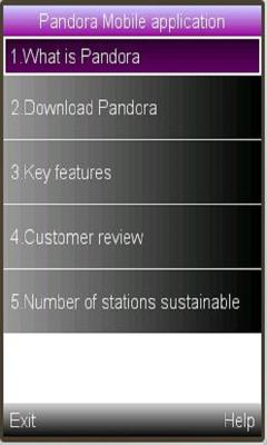 Pandora Mobile application