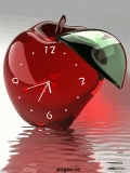 Red Apple Animated Clock