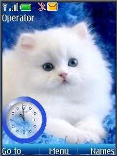 Swf White Cat Clock