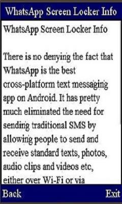 WhatsApp Screen Locker Info